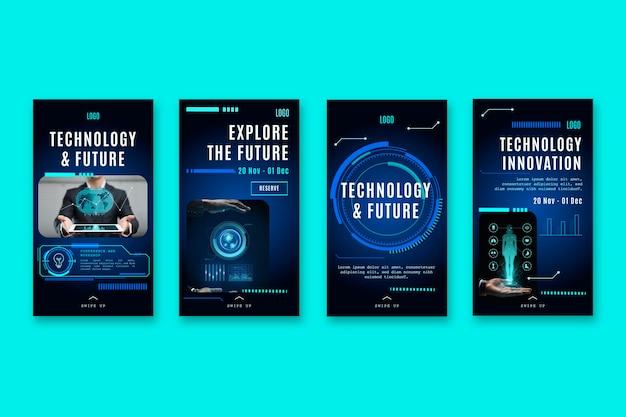 Kolekcja Historii Na Instagramie Z Futurystyczną Technologią Darmowych Wektorów