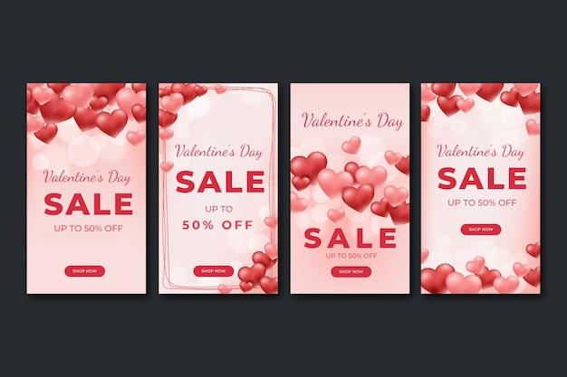Kolekcja Historii Sprzedaży Na Walentynki Premium Wektorów