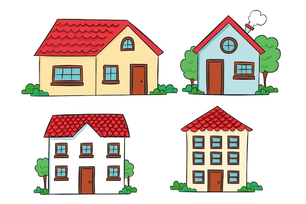 Kolekcja House Ręcznie Rysowane Projekt Darmowych Wektorów