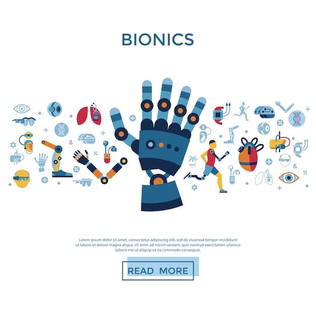 Kolekcja Ikon Bioniki I Sztucznej Inteligencji Premium Wektorów