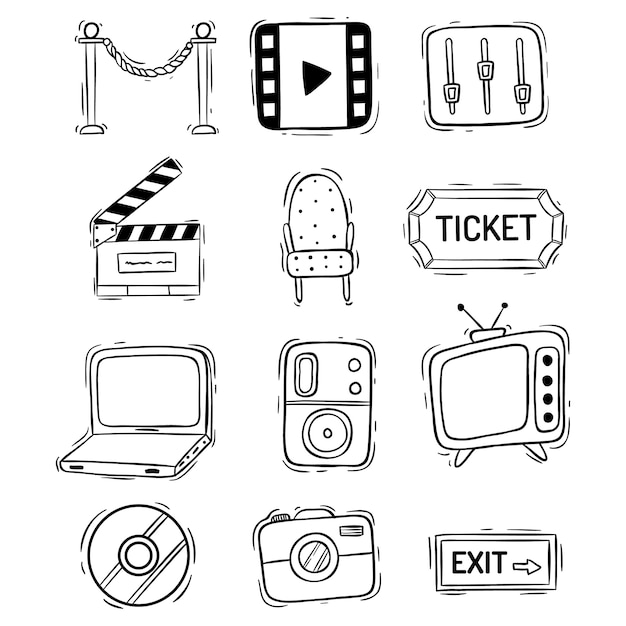 Kolekcja Ikon Filmów Lub Filmów W Stylu Bazgroły Premium Wektorów