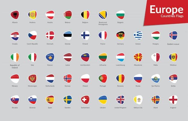 Kolekcja ikon flagi państw europejskich Premium Wektorów
