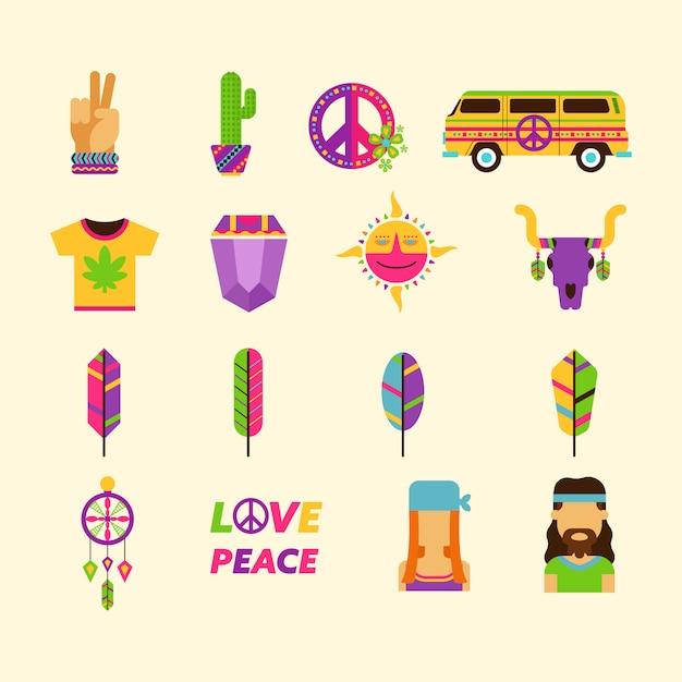 Kolekcja Ikon Hippie Darmowych Wektorów