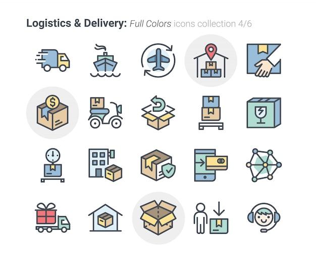 Kolekcja ikon logistyki i dostawy 4 Premium Wektorów