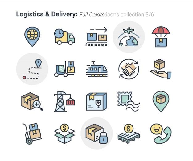 Kolekcja ikon logistyki i dostawy Premium Wektorów