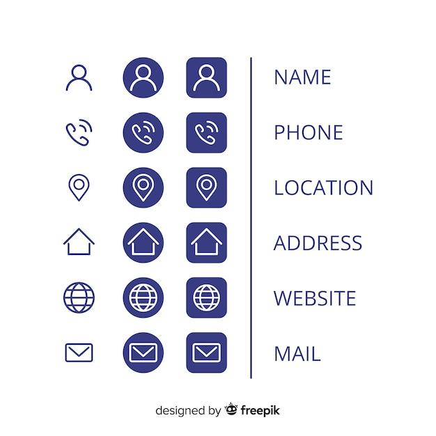 Kolekcja ikon na wizytówkę Darmowych Wektorów