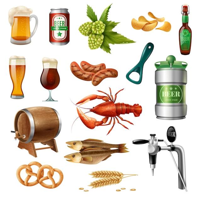Kolekcja ikon piwa oktoberfest Darmowych Wektorów