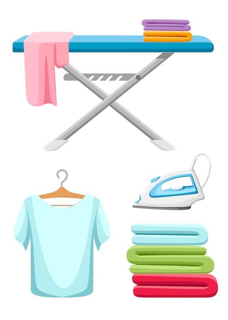 Kolekcja Ikon Pralni. Niebieska Deska Do Prasowania, Białe żelazko, Stos Ręczników I Wyprasowana Koszulka. Ilustracja Kreskówka Na Białym Tle Premium Wektorów