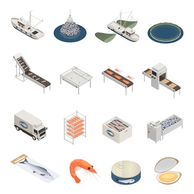 Kolekcja Ikon Przemysłu Rybnego Darmowych Wektorów