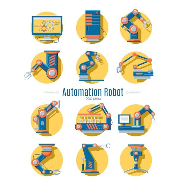 Kolekcja Ikon Robotów Przemysłowych Darmowych Wektorów