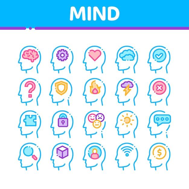 Kolekcja ikon umysłu Premium Wektorów