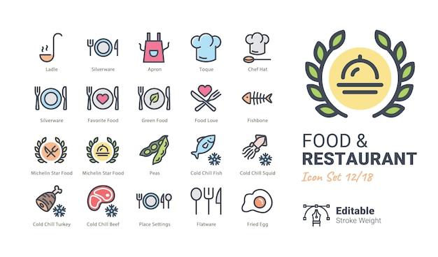 Kolekcja ikon wektorowych żywności i restauracji Premium Wektorów
