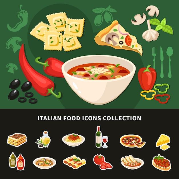 Kolekcja Ikon Włoskiego Jedzenia Darmowych Wektorów