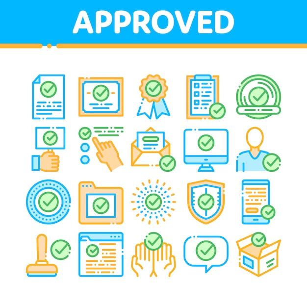 Kolekcja ikon zatwierdzonych symboli Premium Wektorów