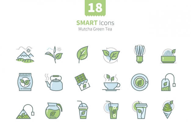 Kolekcja Ikon Zielonej Herbaty Matcha Premium Wektorów