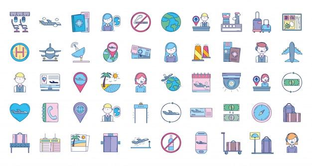 Kolekcja ikona podróży lotniczych Premium Wektorów