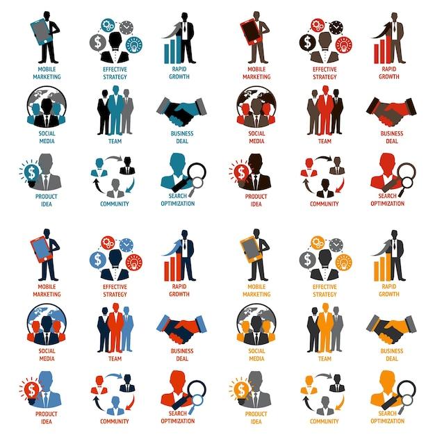 Kolekcja ikony biznesu Premium Wektorów