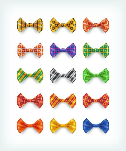 Kolekcja Ikony Muszki. Ilustracje Krawatów W Różnych Kolorach I Wzorach Premium Wektorów