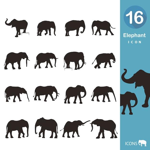 Kolekcja Ikony Słonia Darmowych Wektorów