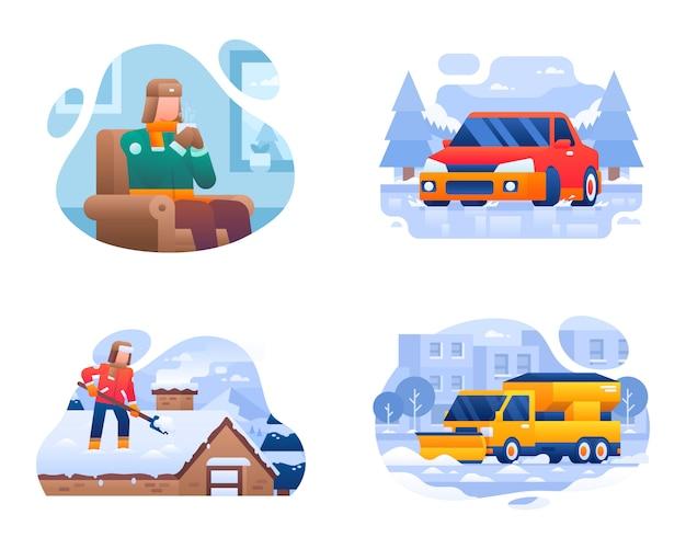 Kolekcja ilustracji aktywności zimowego życia Premium Wektorów