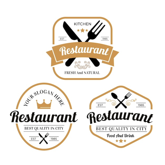 Kolekcja Ilustracji Archiwalne Logo Restauracji Darmowych Wektorów