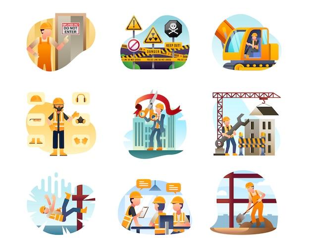Kolekcja ilustracji budowlanych Premium Wektorów