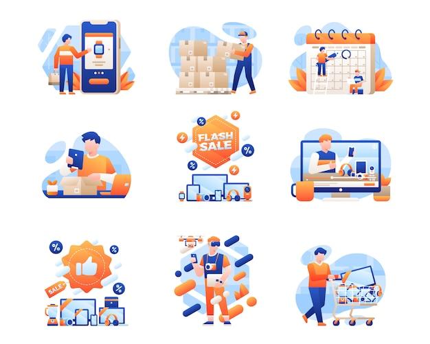Kolekcja ilustracji cyber poniedziałku sprzedaży Premium Wektorów