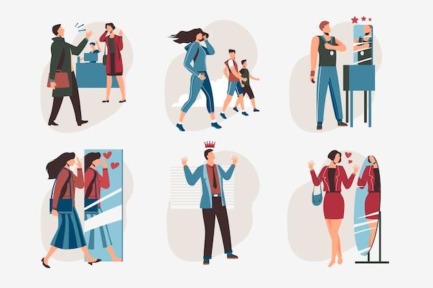 Kolekcja Ilustracji O Wysokiej Samoocenie Z Ludźmi Premium Wektorów