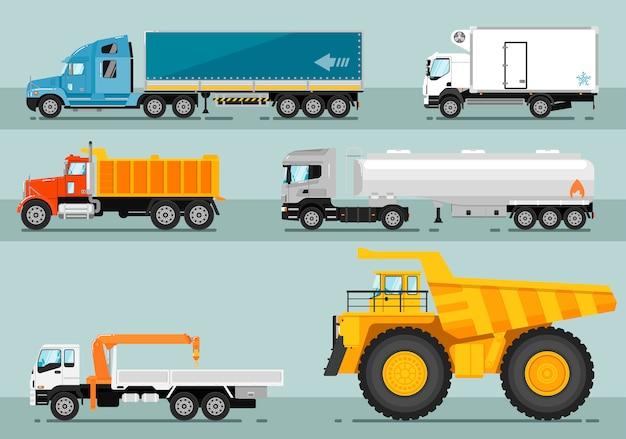 Kolekcja ilustracji płaskich samochodów ciężarowych Premium Wektorów