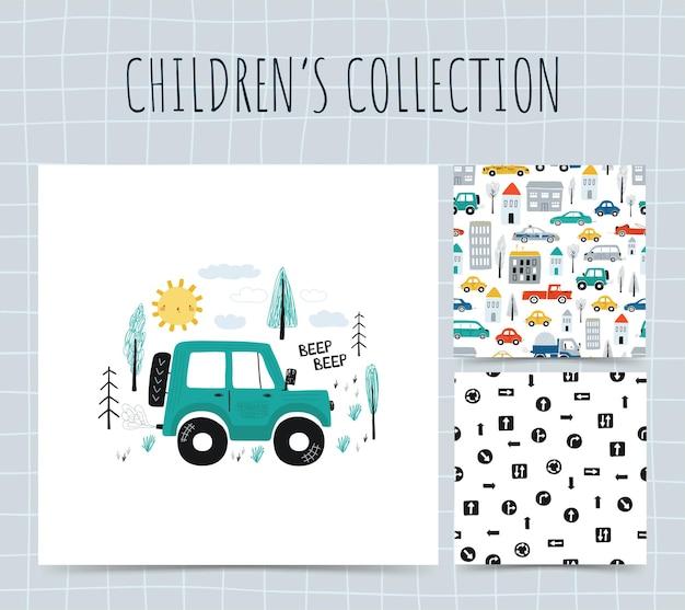 Kolekcja Ilustracji Z Samochodami. Premium Wektorów