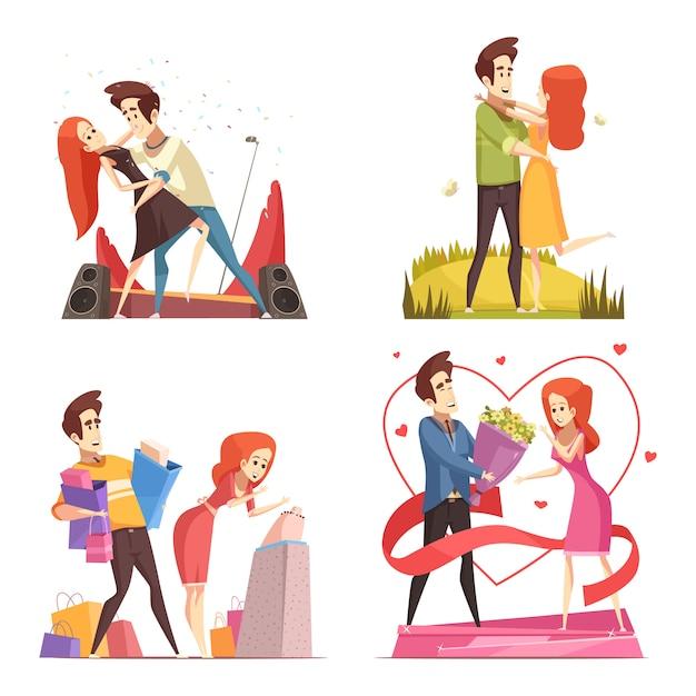 Kolekcja ilustracji zakochanych pary Darmowych Wektorów