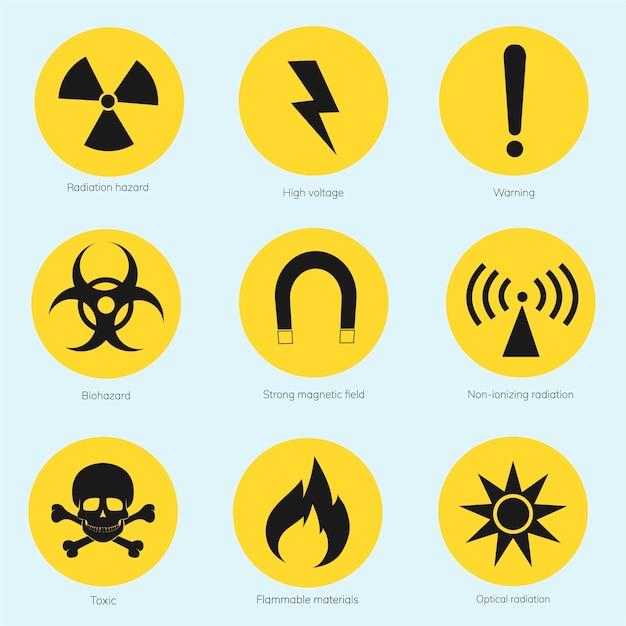 Kolekcja ilustrowanych znaków ostrzegawczych Darmowych Wektorów