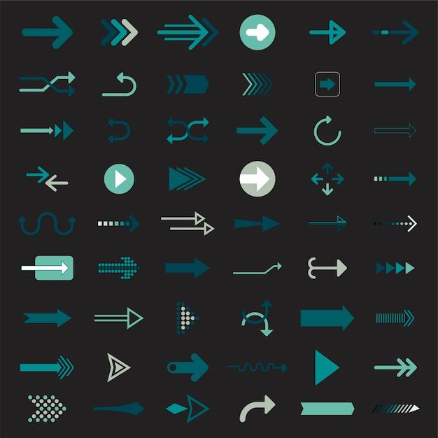 Kolekcja ilustrowanych znaków strzałki Darmowych Wektorów