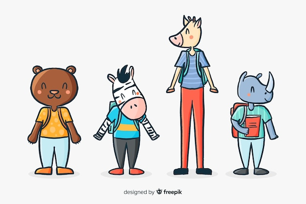 Kolekcja ilustrowanych zwierząt w szkole Darmowych Wektorów