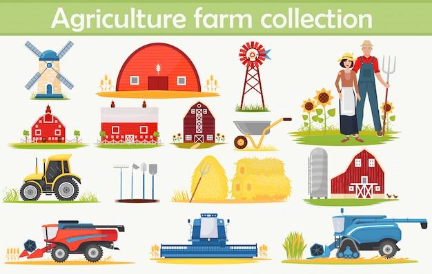 Kolekcja Infografiki Farm Agriculture Premium Wektorów