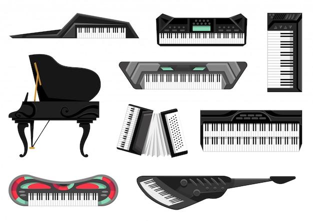 Kolekcja Instrumentów Muzycznych Klawiatury. Odosobnione Ikony Ustawiać Muzyczne Kluczowe Deski Na Białym Tle. Sprzęt Dla Muzyków. Narzędzia Dla Miłośnika Muzyki Premium Wektorów