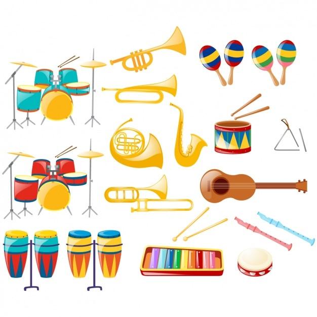 Kolekcja Instrumenty Muzyczne Darmowych Wektorów