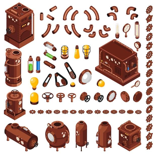 Kolekcja Izometryczna Elementów Konstruktora Sztuki Steampunk Inspirowana Xix-wiecznymi Maszynami Parowymi Darmowych Wektorów