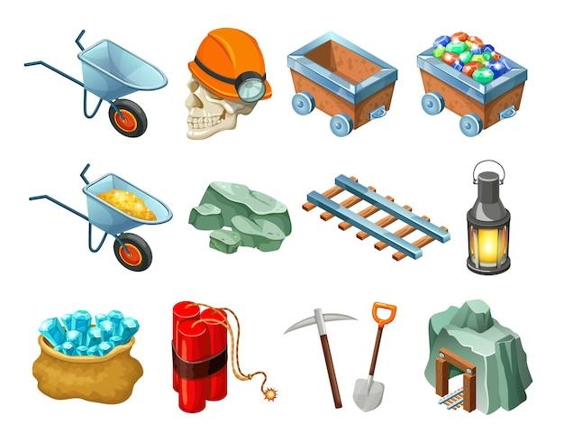 Kolekcja Izometrycznych Elementów Gry Górniczej Darmowych Wektorów