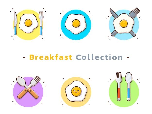 Kolekcja jajka sadzone na śniadanie Premium Wektorów