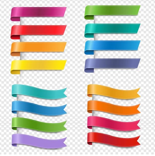 Kolekcja Jedwabne Kolorowe Wstążki Przezroczyste Tło Premium Wektorów