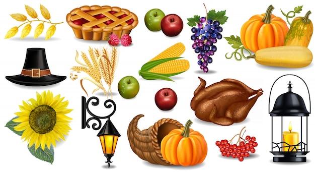 Kolekcja Jesień Dziękczynienia Premium Wektorów