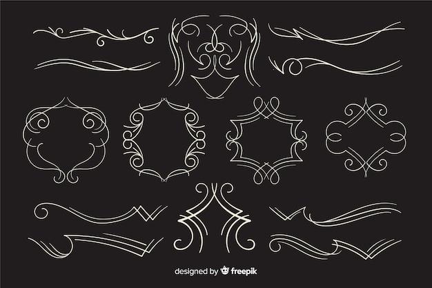 Kolekcja Kaligraficzna Wesele Ozdoba Na Czarnym Tle Darmowych Wektorów