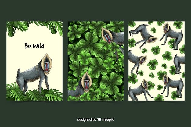 Kolekcja kart dzikich zwierząt Darmowych Wektorów