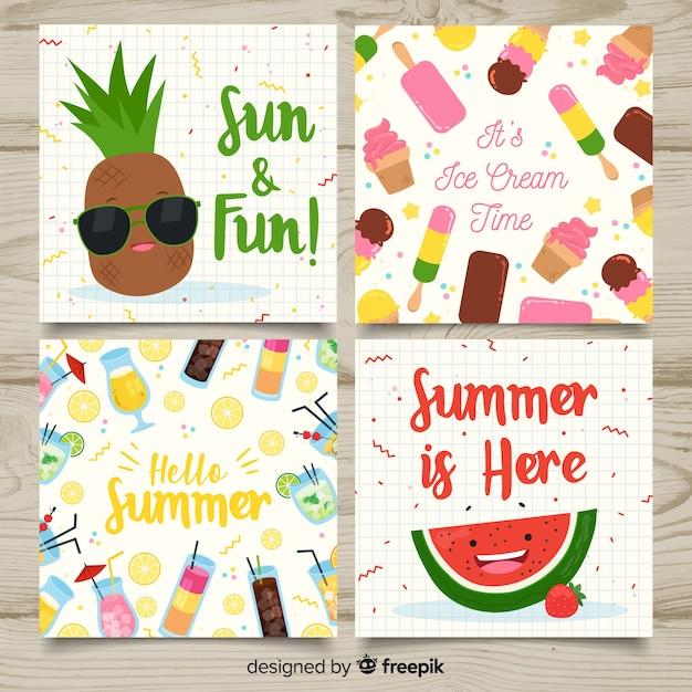 Kolekcja kart letnich Darmowych Wektorów