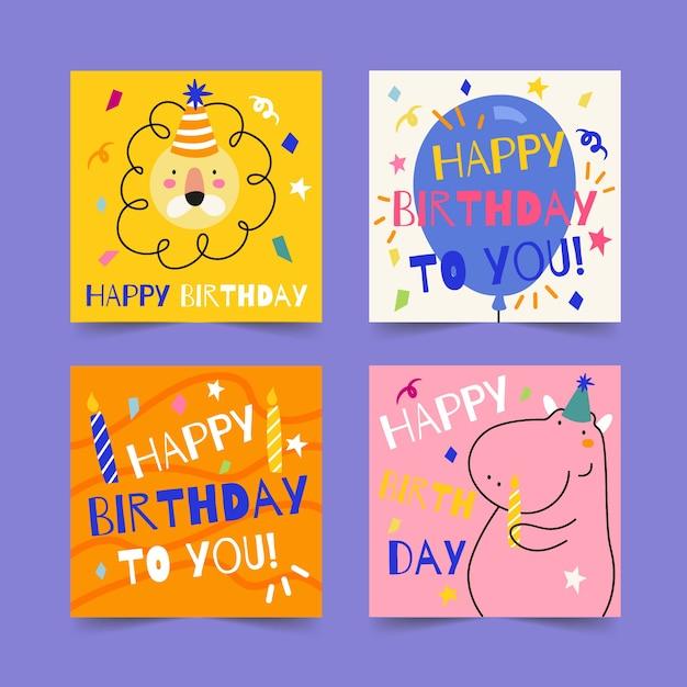 Kolekcja Kart Okolicznościowych Z Okazji Urodzin Darmowych Wektorów
