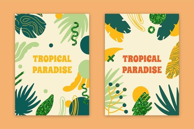 Kolekcja Kart Streszczenie Tropikalny Raj Darmowych Wektorów