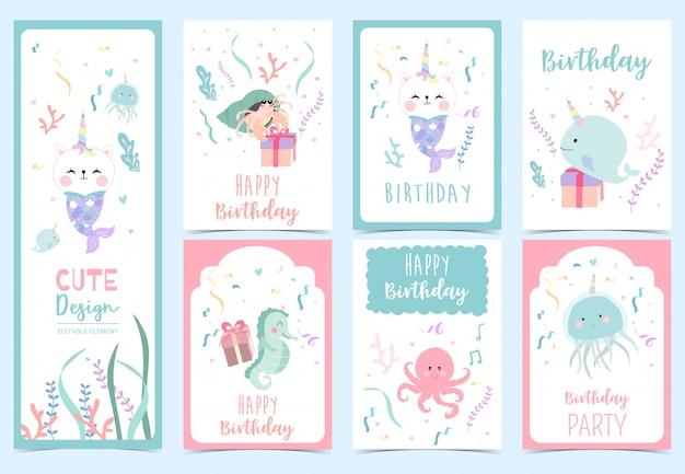 Kolekcja kart syreny z krabem pustelnikiem, konikiem morskim. ilustracja na urodziny zaproszenie Premium Wektorów