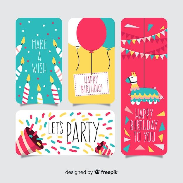 Kolekcja kart urodzinowych płaska konstrukcja Darmowych Wektorów