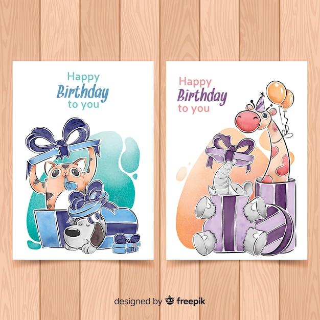 Kolekcja kart urodzinowych w stylu akwareli Darmowych Wektorów